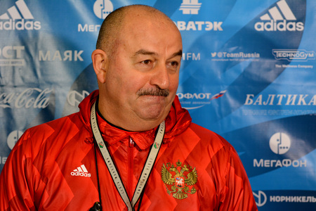 Moscow, Russia - October 5, 2017. Russian international football team manager Stanislav Cherchesov during training camp before test match against South Korea in Moscow. Editorial