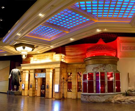 Las Vegas, Nevada, USA - November 17, 2017. Entrance to the Red Square vodka bar at Mandalay Bay resort in Las Vegas, with headless statue of Lenin.