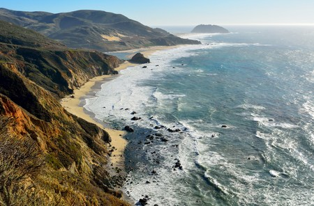 Pacific coast in Big Sur state parks in California.