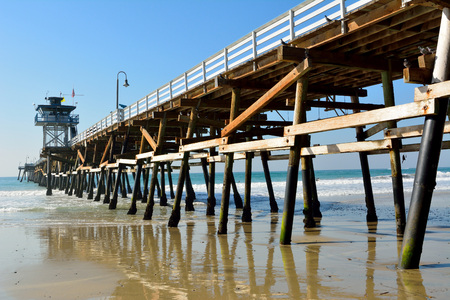 Wooden pier in San Clemente, California.