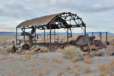 Rachel, Nevada, United States of America - November 21, 2017. Derelict mill equipment in Rachel, Nevada, United States of America.