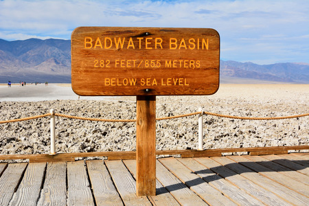 Death Valley National Park, California, USA - November 23, 2017.  Wooden sign Badwater Basin in the Death Valley National Park in USA, at elevation of 85.5 meters below sea level. Editorial