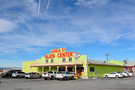 Amargosa Valley, Nevada, United States of America - November 24, 2017. Exterior view of Area 51 Alien Center in Amargosa Valley, with cars.