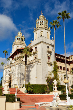 San Simeon, California, United States of America - November 27, 2017. Hearst Castle in San Simeon, CA, with statues and palm trees. Editorial