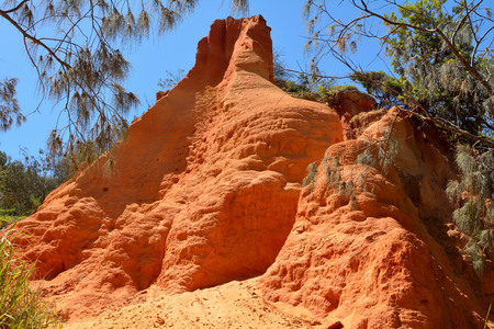 Sandy pinnacle formation of Red Canyon in Great Sandy National Park in Queensland, Australia. Stock Photo