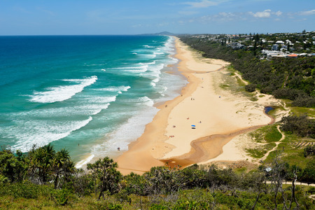 View over Sunshine Beach south of Noosa, QLD, with people. Reklamní fotografie
