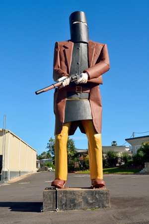 Maryborough, Queensland, Australia - December 20, 2017. Oversized statue of outlaw Ned Kelly in Maryborough, QLD. Sajtókép