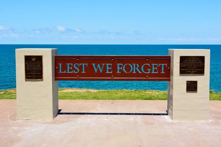 Bundaberg, Queensland, Australia - December 25, 2017. Anzac Day Memorial at Submarine Lookout point in Elliott Heads Memorial Park near Bundaberg in Queensland, Australia. 新闻类图片
