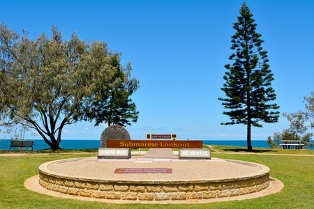 Bundaberg, Queensland, Australia - December 25, 2017. Anzac Day Memorial at Submarine Lookout point in Elliott Heads Memorial Park near Bundaberg in Queensland, Australia, with vegetation.