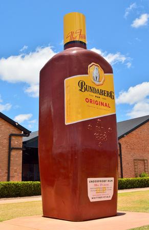 Bundaberg, Queensland, Australia - December 25, 2017. Big Rum Bottle in front of the Bundaberg Rum Distillery in Bundaberg, QLD.