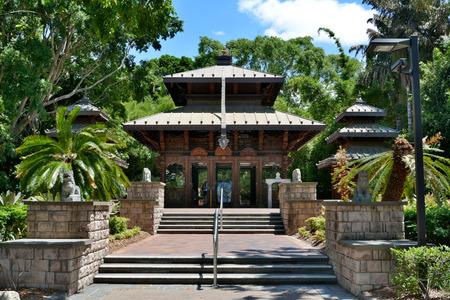 Brisbane, Queensland, Australia - January 6, 2018. Nepalese Peace Pagoda at South Bank Parklands in Brisbane. Editöryel