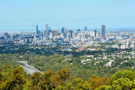 Brisbane, Queensland, Australia - January 6, 2018. View over Brisbane, Australia, with commercial and residential buildings, skyscrapers and vegetation.