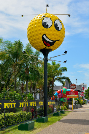 Mermaid Beach, Gold Coast, Queensland, Australia - January 13, 2018. Big Golf Ball in Mermaid Beach on the Gold Coast of Queensland, with commercial properties and vegetation.