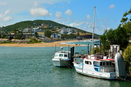 Yeppoon, Queensland, Australia - December 27, 2017. View toward Yeppoon town and beach with boats.