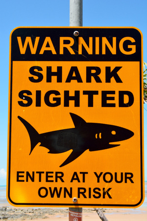 Clairview, Queensland, Australia - December 29, 2017. Shark Sighted warning sign.