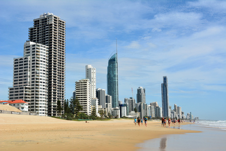 Surfers Paradise, Gold Coast, Queensland, Australia – January 14, 2018. Beach in Surfers Paradise, with people and commercial and residential buildings. Editöryel