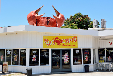 Miriam Vale, Queensland, Australia - December 17, 2017. The Big Crab restaurant in Miriam Vale, with the Big Crab structure on roof.
