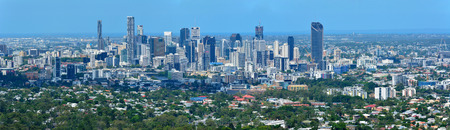 Brisbane, Queensland, Australia - January 6, 2018. View over Brisbane, Australia, with commercial and residential buildings. Editöryel
