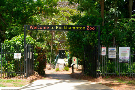 Rockhampton, Queensland, Australia - December 28, 2017. Entrance to Rockhampton zoo, with vegetation and information boards. Editorial
