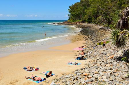 Noosa, Queensland, Australia - December 18, 2017. Noosa Little Cove beach in Noosa, QLD, with people. Editöryel