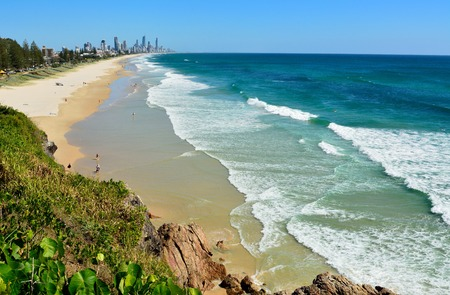 Miami, Gold Coast, Queensland, Australia - January 14, 2018. View across Miami and Broadbeach toward Surfers Paradise, with people and buildings in the distance.