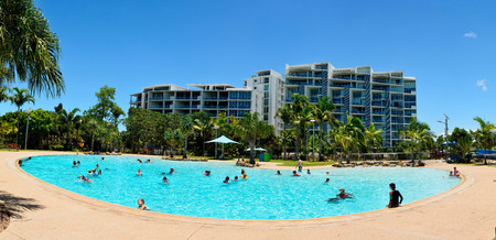 Mackay, Queensland, Australia - December 30, 2017. View of artificial Bluewater Lagoon in Mackay, QLD, with pool and people.