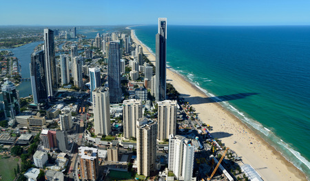 Surfers Paradise, Queensland, Australia - January 10, 2018. View over Surfers Paradise, with skyscrapers, commercial and residential buildings.