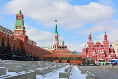 View of the Red Square in Moscow, with Kremlin, Lenin's Mausoleum and State Historical Museum in the background.