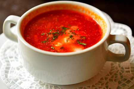 Plate of Russian borsch soup.