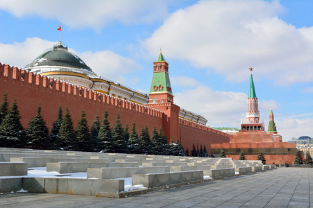 View of Kremlin and Lenin's Mausoleum on the Red Square in Moscow, Russia.