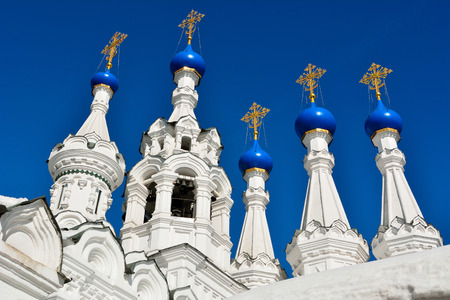 Domes and crosses of the Church of the Nativity of the Virgin in Putinki in Moscow, Russia, dating from 1652.