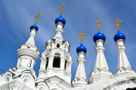 Domes and crosses of the Church of the Nativity of the Virgin in Putinki in Moscow, dating from 1652.