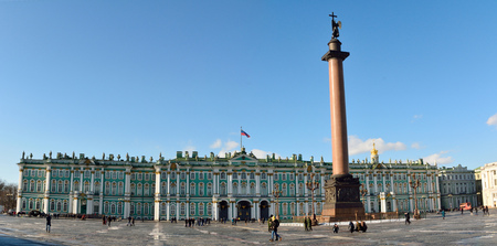 St Petersburg, Russia - March 26, 2018. Palace Square (Dvortsovaya square) in St Petersburg, with the Hermitage and Alexander Column, and people. Editöryel