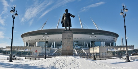 St Petersburg, Russia - March 26, 2018. Exterior view of St Petersburg stadium, with Kirov monument and street lamps.