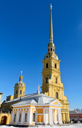 Exterior view of Peter and Paul Cathedral in St Petersburg, Russia. Editöryel