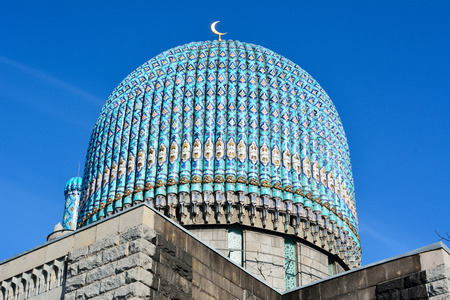 St Petersburg, Russia - March 27, 2018. Dome of the St Petersburg mosque, with mosaic ceramics. Editöryel