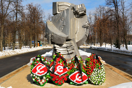 Moscow, Russia - March 22, 2018. Monument by sculptors Georgy Lunacharskiy and Mikhail Skovorodin 'to people who perished in stadiums all over the world', near Luzhniki stadium in Moscow. Editorial