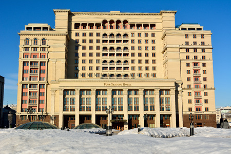 Moscow, Russia - March 20, 2018. Exterior view of the Four Seasons Hotel on Okhotniy Ryad street in Moscow, in winter.