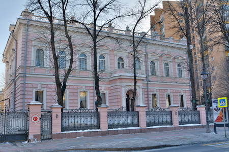 Moscow, Russia - March 18, 2018. Historic mansion on Bolshaya Nikitskaya street in Moscow, currently occupied by the Embassy of Turkey.