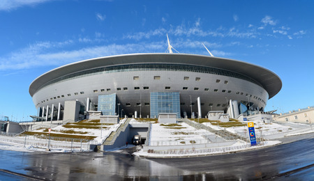 St Petersburg, Russia - March 26, 2018. Exterior view of St Petersburg stadium.