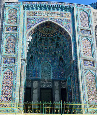 St Petersburg, Russia - March 27, 2018. Exterior portal of the St Petersburg mosque, with mosaic ceramics. Sajtókép