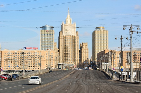 Moscow, Russia - March 17, 2018. Street view on Bolshaya Dorogomilovskaya street in Moscow, toward building of the Foreign Ministry, with residential buildings, commercial properties, street traffic and people Editorial