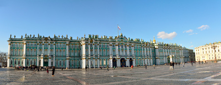 St Petersburg, Russia - March 26, 2018. Exterior view of the Hermitage museum building on Palace Square (Dvortsovaya square) in St Petersburg, with people.