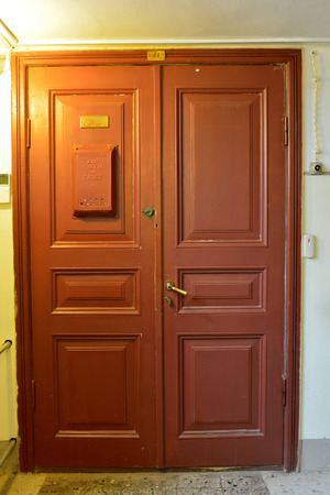 St Petersburg, Russia - March 25, 2018. Wooden door leading to Anna Akhmatova apartment, currently housing a museum, at the Fountain House in St Petersburg. Editorial