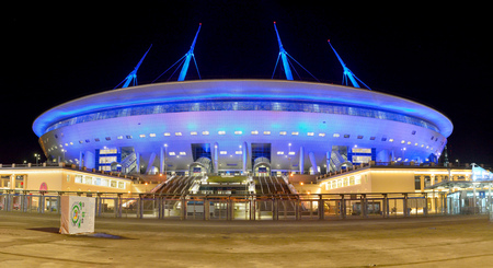 St Petersburg, Russia - March 27, 2018. Exterior view of St Petersburg stadium, at night.