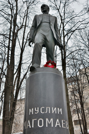 Moscow, Russia - March 21, 2018. Monument to Azerbaijani opera and popular music singer Muslim Magomayev in Moscow. Editorial