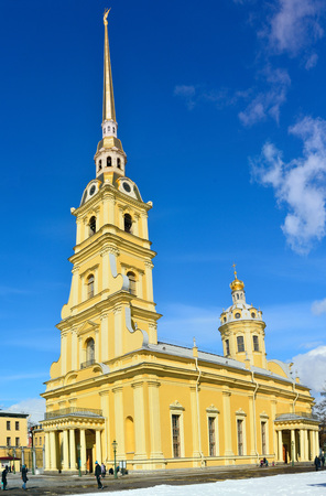 St Petersburg, Russia - March 27, 2018. Exterior view of Peter and Paul Cathedral in St Petersburg, Russia, with people.