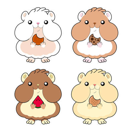 Kawaii Hamster Chewing Food Variations Illustration
