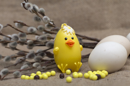 Happy Easter. Chicken, easter eggs and willow. Photo. photo