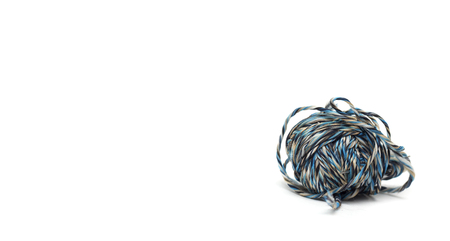 thick: Blue thick darning thread. Photo. Stock Photo